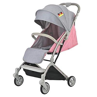 Cochecito infantil, Cochecito de bebé plegable 2 en 1 de 4 ruedas Cochecito para bebé, Cochecito reclinable de cuna convertible Cochecito de bebé compacto compacto con manillar ajustable