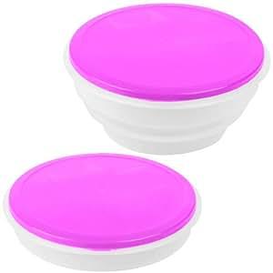 Promobo - Saladier Cuisine Boite Repas Pliable Lunch Box Design City Rose 700Ml