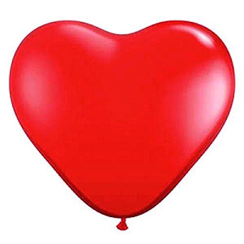 Pixnor 50pcs en forma de corazón rojo de 12 pulgadas globos látex día de San Valentín decoraciones boda compromiso