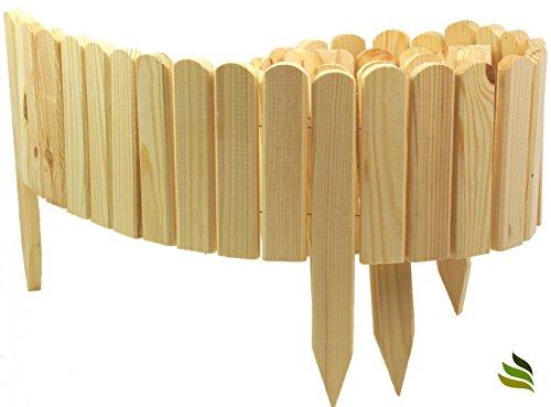 *Floranica® Rollboarder als Steckzaun 200×20 cm aus Holz als Beeteinfassung, Beetumrandung, Rasenkante oder Palisade – wetterfest imprägniert, Farbe:natur*