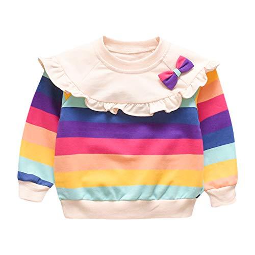 Lookhy Mädchen Tops,Kinder Langarm Oben Regenbogen Gestreift Bogen Lotus Kragen Mädchen Langarm Baumwolle T-Shirt Bluse Long Shirt Pullover - Baby Alte Oma Kostüm