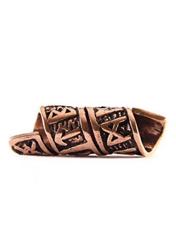 Bartperle Wikinger / Dreadlockperle aus Bronze mit Runen und Spiralmuster