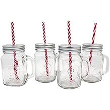 htuk 4Retro Mason barattoli in vetro con coperchio stagno e argento cannucce bere cocktail tazze di vetro con maniglia