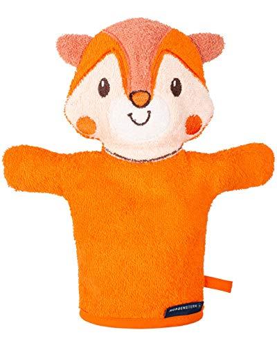 Morgenstern Kinder Waschhandschuh Frottee Handpuppe orange mit Tiermotiv ()