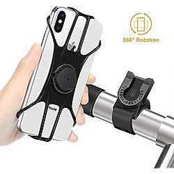 """MOSUO Soporte Movil Bicicleta, Soporte Móvil Moto Universal Manillar de Silicona para Motocicleta MTB, 360° Rotación Agarre para iPhone XS XR X 8 Plus Samsung Galaxy Huawei y 4.0""""-6.5"""" Smartphones"""