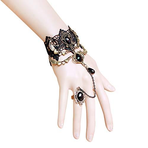 Hosaire 1x Spitze Armband mit Ring, Vintage Schmuck Damen Armbänder Legierung Ring Handkette Mode Geschenk 15+7cm