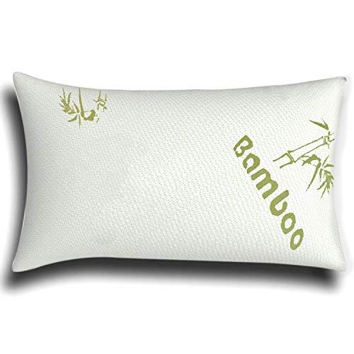 The Bamboo Pillow Almohada Cervical de virutas de Espuma de Memoria y bambú en Blanco - Almohada viscoelástica...