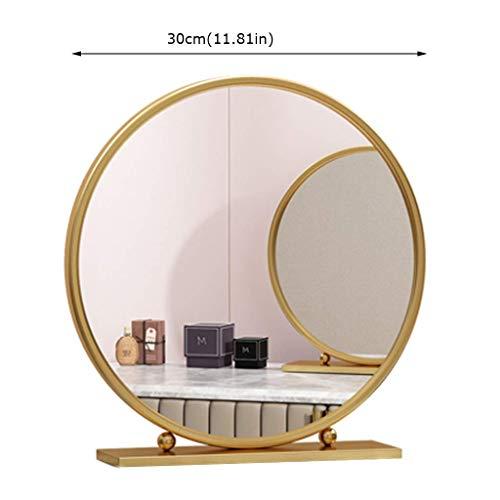 Große Make-up-Spiegel, Metallrahmen, Make-up auf dem Boden stehend, Dressing für moderne Kosmetik in Gold (Farbe: B, Größe: 40 cm) (Stehend Make-up-spiegel)