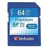 Verbatim  SecureDigital SDXC, Class 10, 64GB, 70 MB/s