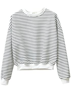 Women 's Casual Rayas Manga Larga Tunica Sweatershirt Outwear