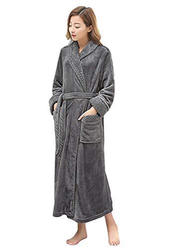PUTUO Peignoir de Bain Femme Peignoir en Eponge Microfibre, Femme Robe de Chambre Longue Hiver Chaud (Gris, L/XL)