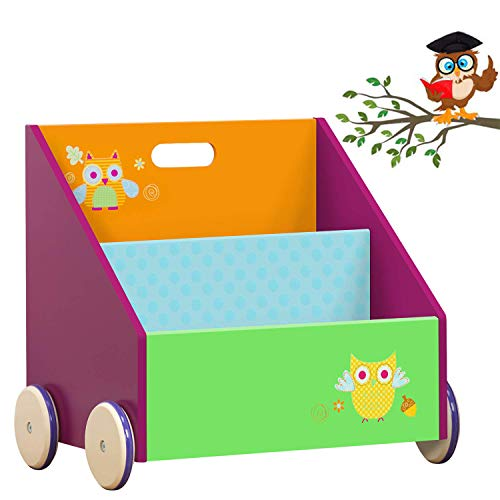 labebe Kinder Bücherregal, Holz Standregal with Räder, Grüne Eule 2-in-1 Bücherregal Für Kinder 1-5 Jahre Alt, Kleiner Standregal/Bücherregal Regal/Bücher Regal/Modern Standregal/Bücherregal Tier/ - 3 Regal 5 Regal Bücherregal