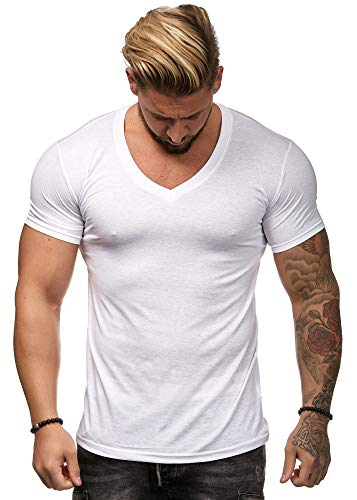 OneRedox Herren Shirt Hoodie Longsleeve Kurzarm Shirt Sweatshirt T-Shirt BS500 Weiss L