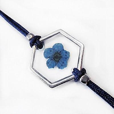 Bracelet géométrique Inès bleu en résine et fleurs - Bijou nature en fleurs séchées