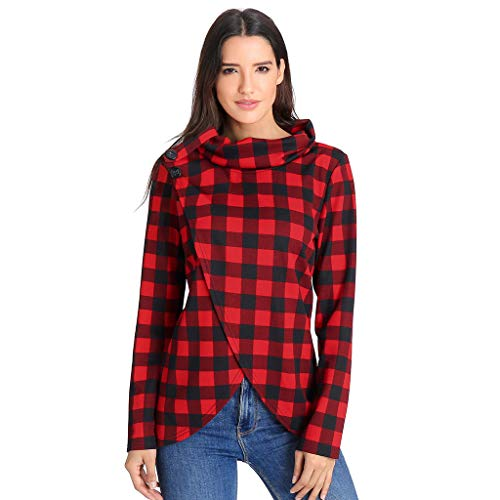 OIKAY Damen Langarm Shirts Henley Shirt Womens Herbst Plaid Cowl Neck Wrap Style Sweatshirt Pullover Bluse Top Shirt(Rot,EU-36/M) Plaid Neck Wrap