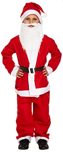 Jungen 5-teilig, Motiv: Weihnachtsmann, für Bart, Kostüm (Bart Kostüm Rot)