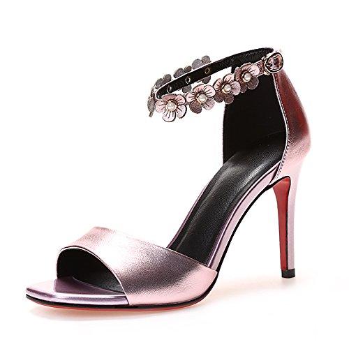 bocca di pesce con le scarpette da punta con una cinghia borsa con le scarpe con il tacco della moda femminile bene i sandali. rosa