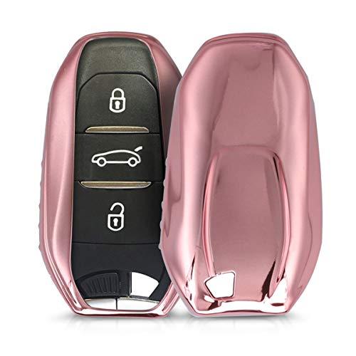 kwmobile Custodia Compatibile con Chiave Peugeot Citroen con 3 Tasti Smartkey (Keyless Go) Peugeot Citroen - Cover Chiave Auto in Silicone TPU - Guscio Elastico Protezione Oro Rosa Brillant