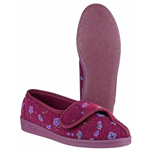 Comfylux Femmes Diana Fermeture Velcro Pantoufles Chaussures Chaussons Wine