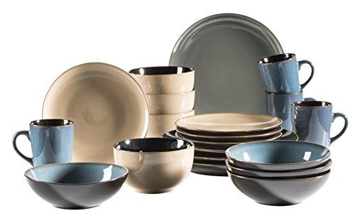 MÄSER 931239 Serie Scuro, Geschirr-Set bunt aus Keramik für 4 Personen, 20-teiliges Kombiservice, modern und mediterran, Grün/Beige/Blau, Steinzeug