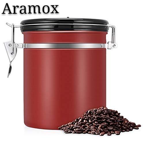 kaffeedose,vorratsdosen luftdicht,kaffeedose luftdicht, Kaffeedose Edelstahl, Kaffeebehälter Luftdichte Aromadose Vorratsdose Edelstahldose Vakuum Dose für Kaffeebohnen, Pulver, Tee(Rot, 1.5 Liter) -