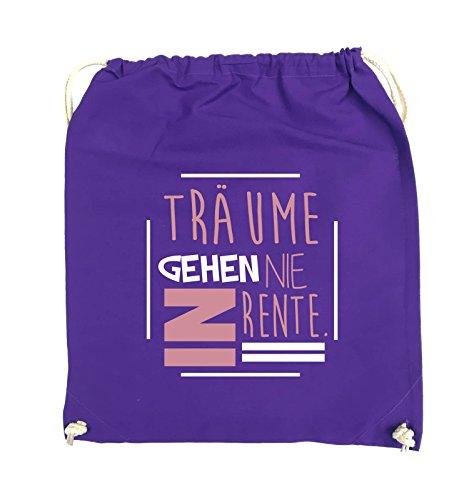 Comedy Bags - Träume gehen nie in Rente. - Turnbeutel - 37x46cm - Farbe: Schwarz / Weiss-Neongrün Lila / Rosa-Weiss