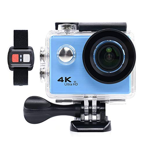 BILLY'S HOME Action Camera, 4K WiFi Ultra HD Underwater Wasserproof 30M Sports Camcorder mit 170 Grad Advanced Sensor, 2 Batterien, Portable Carrying Bag,Blue Digital Point And Shoot Case