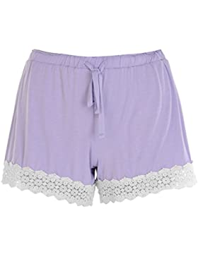 Rock and Rags Donna Pantaloncini Pigiama Shorts Bordo A Uncinetto Notte Sonno