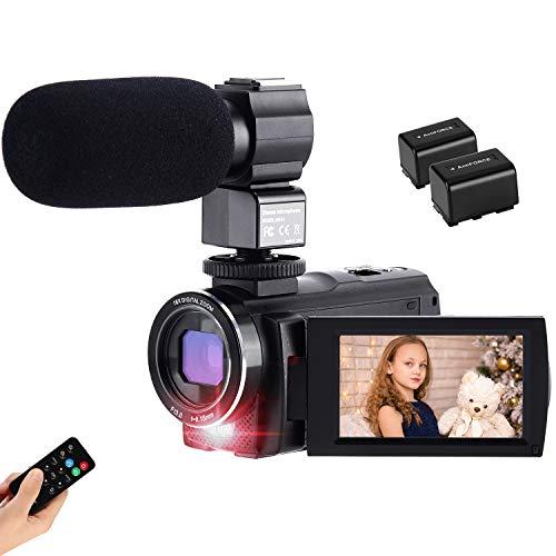 Caméscope CofunKool 42MP 1080P 30FPS Caméra Vidéo 3,0 Pouces 270 ° Rotative IPS Tactile Écran Caméra Numérique avec Microphone Externe, Télécommande et 2 Piles Rechargeables