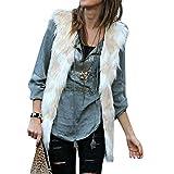 IZHH Ladies Vest, Weihnachten Womens Geschenk ärmellose Farbverlauf Fell Faux Fur Gradient Weste solide Winter warme lose Weste Mantel(Beige,XXX-Large)