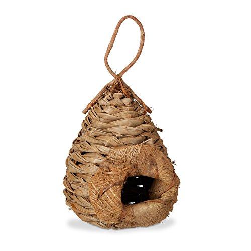 Relaxdays Deko Vogelhaus aus Kokosblättern, exotisches Vogelhäuschen zur Dekoration, Vogelnest zum Aufhängen, natur