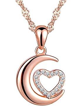 Unendlich U Fashion Mond Herz Damen Mädchen Halskette 925 Sterling Silber Zirkonia Anhänger Kette mit Anhänger...