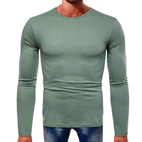 Cloom Langarmshirt Herren Slim Fit Sweatshirt Herren Longsleeve Herren Solid O Neck T-Shirt Slim Top Rundhals Classics Herren T-Shirt Muskelshirt Sport Fitness Bluse(Grün,Medium)