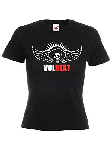 T-shirt Donna Volbeat - maglietta 100% cotone LaMAGLIERIA,XL, Nero