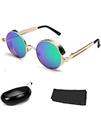 68b2e3753d72d5 BAINA Vintage Steampunk Lunettes de soleil Round Metal Femme Hommes Retro  Circle Sun Glasses