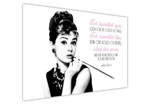 """Leinwanddruck, Motiv: Audrey Hepburn mit Zitat (in englischer Sprache), canvas holz, 7- 30"""" X 20"""" (76CM X 50CM)"""
