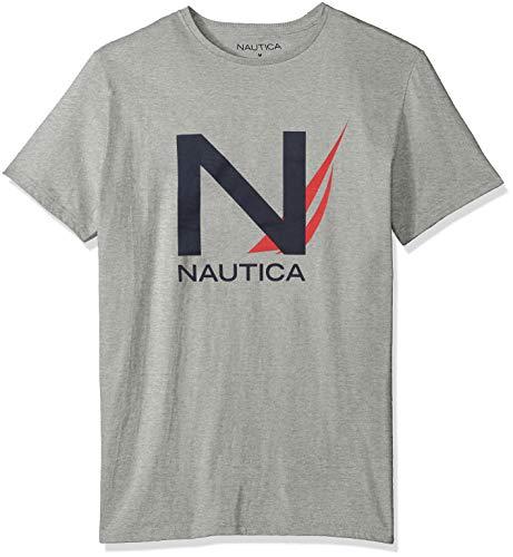 Nautica Herren Short Sleeve Signature Graphic Crewneck T-Shirt, Grey Heather, Klein -