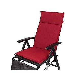 Herlag Clara Polsterauflage Hochlehner für Gartenmöbel (Rückenhalteband, Farbe rot, Füllung 100% PU Schaumstoff) P222011…