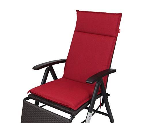 Herlag Clara Polsterauflage Hochlehner für Gartenmöbel (Rückenhalteband, Farbe rot, Füllung 100% PU Schaumstoff),