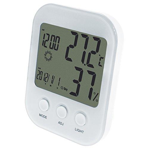 Smartfox LCD Wecker Digitaluhr Reisewecker Digitalwecker Tischuhr Thermometer Hygrometer Uhr Datumsanzeige mit Beleuchtung in Weiß