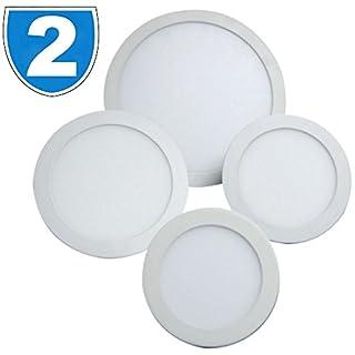 2x Hispec 6w Circular Recessed Ceiling Slimline LED Panel Light 6400K Daylight Office, Shop, Home Hallway, Bedroom Lamp Downlight