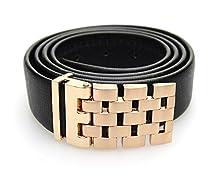 Imported Formal Black & Gold Genuine Leather Belt