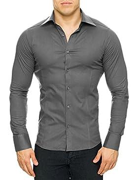 Redbridge Herren Classic lang–alltägliches Freizeithemd. Gr. X-Large, Grey - Grey