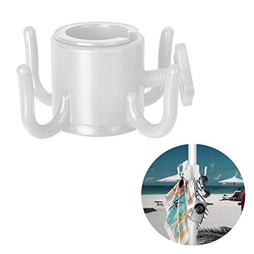 Tagvo Beach Umbrella Hanging Hook, 4-Zinken Plastic Umbrella Haken Hanging für Handtücher / Hüte / Kleidung / Kamera / Sonnenbrillen / Taschen - Durable, Fit für Strand, Camping Reisen (Weiß) (Regenschirm, Handtuch Haken)