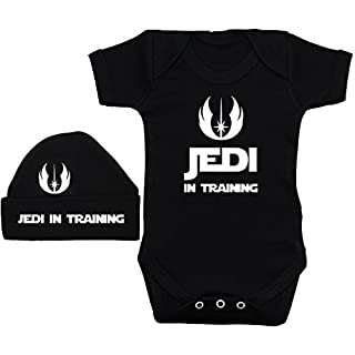 Acce Products Jedi in Training Baby Grow/Bodysuit/Romper/T-Shirt & Beanie Hat/Cap - 3-6 Months - Black