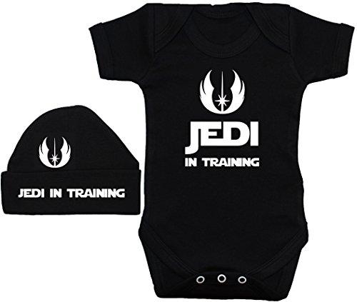 Jedi in Training Baby Body/Strampler/Weste/T-Shirt/Mütze/Mütze/Mütze, Star Wars Schwarz 0 bis 12 Monate Gr. 3-6 Monate, Schwarz (T-shirts Für Kleinkinder Personalisierte)
