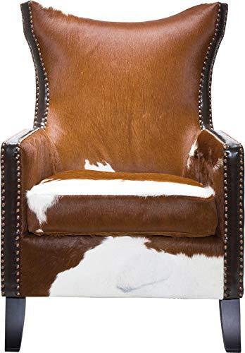 Kare Sessel Denver Cow, 76343, bequemer, moderner TV XL-Loungesessel mit Armlehne im Kuhfell-Design, braun-weiß (H/B/T) 107x76x82cm