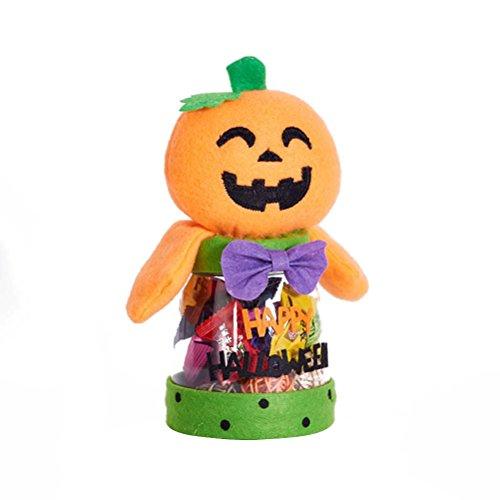 BESTONZON Halloween Süßigkeiten Glas Geschenke Box Süßes oder Saures Cartoon Spielzeug Puppe Süßigkeiten Aufbewahrungsbox Dekoration (Kürbis)