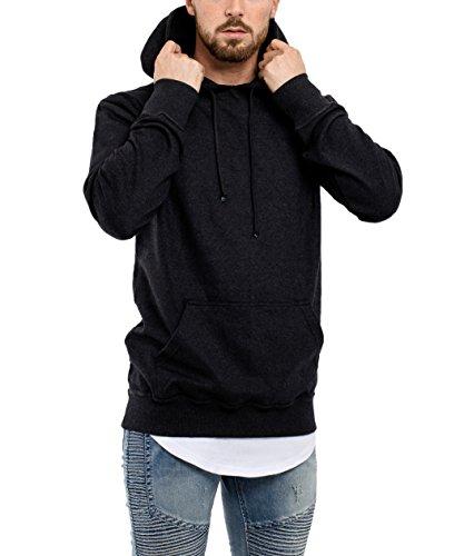 Phoenix Raw Hem Zip Hoodie Herren Langer Pullover Oversized Kapuzenpullover Sweater Grau Anthrazit Grün Hoodie - Anthrazit