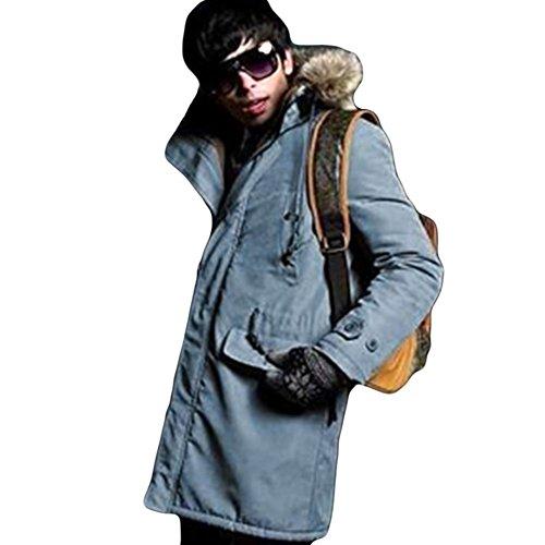 Meijunter Winter-Herren dick lange Mantel warme Pelzkragen mit Kapuze Parka Overcoat Outwear Jacke Blue